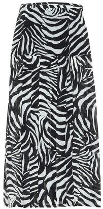 Rixo Nancy zebra-print midi skirt