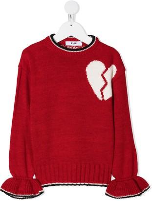 Msgm Kids Intarsia-Knit Broken Heart Jumper