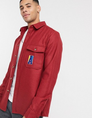 ASOS Actual wool mix overshirt with chest embroidery in red