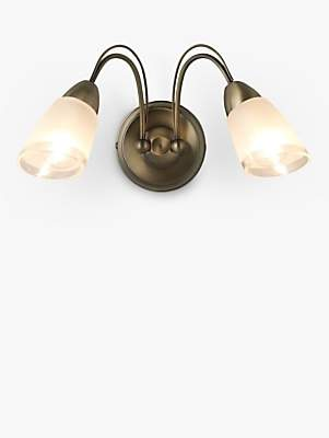 John Lewis & Partners Mizar Wall Light, 2 Arm, Antique Brass