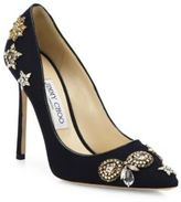 Jimmy Choo Romy 100 Embellished Flannel Point-Toe Pumps