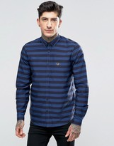 Fred Perry Shirt With Bold Stripe In Medieval Blue In Slim Fit
