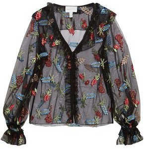 Alice McCall Time Stands Still Ruffled Embroidered Tulle Blouse