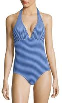 Shoshanna Marine Eyelet Striped Halter One-Piece Swimsuit