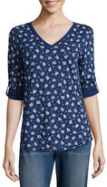 Liz Claiborne V-Neck Roll Tab Tunic - Tall