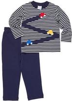 Florence Eiseman Stripe Knit Car T-Shirt w/ French Terry Pants, Size 9-24 Months