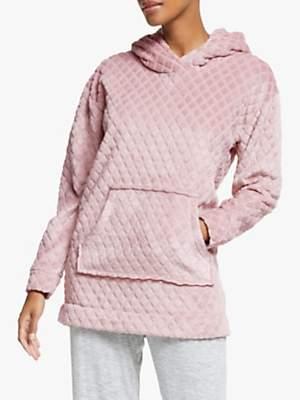 John Lewis & Partners Diamond Fleece Snuggle Lounge Top, Pink