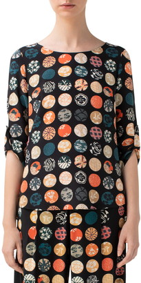 Akris Punto Wood Block Dot Silk Blouse