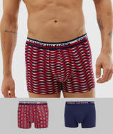 Tommy Hilfiger 2 pack trunks with contrast waistband in print/solid navy