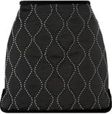 Alexander Wang Velvet-trimmed embellished satin mini skirt
