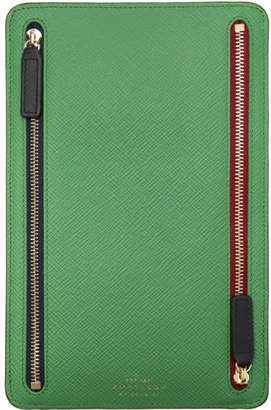Smythson Green Panama Zip Currency Case