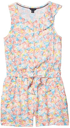 Tommy Hilfiger Umbrella Romper (Big Kids) (White) Girl's Jumpsuit & Rompers One Piece