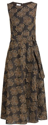 Akris Punto Desert Flower Sleeveless Jacquard Midi Dress