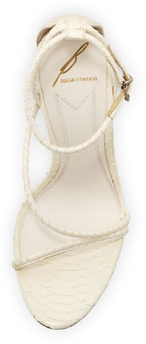 Brian Atwood Labrea Corded Snakeskin Sandal, White