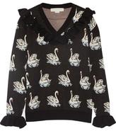 Stella McCartney Ruffle-trimmed Intarsia Wool Sweater - Black