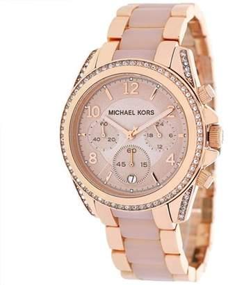 Michael Kors Women's Blair Chronograph Rose Gold Glitz Watch MK5943