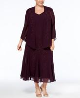 R & M Richards Plus Size Beaded V-Neck Dress and Jacket