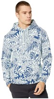 J.Crew Garment-Dyed Pullover All Over Print Hoodie (Tropical Party Blue/White) Men's Clothing