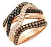 Effy Confetti Multicolor Diamond & 14K Rose Gold Ring