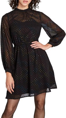 ModCloth Rainbow Swiss Dot Long Sleeve Fit & Flare Dress
