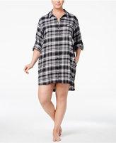DKNY Plus Size Patterned Flannel Boyfriend Sleepshirt