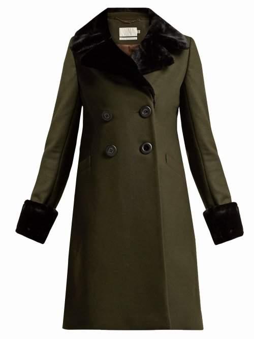 Goat Giles Faux Fur Trimmed Wool Blend Coat - Womens - Dark Green