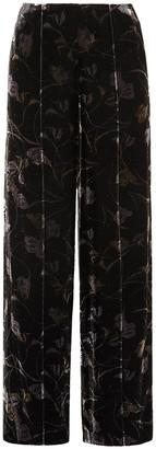 Diane von Furstenberg Mabel Floral-print Velvet Wide-leg Pants