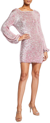 retrofete Tara Sequin Blouson-Sleeve Mini Dress