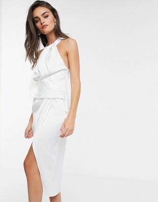 ASOS DESIGN satin halter neck midi dress with drape bodice