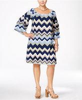 Love Squared Trendy Plus Size Chevron-Print Shift Dress