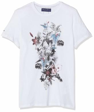 Religion Men's Hand Draw Flower Skeleton TEE T-Shirt