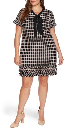 CeCe Grid Tweed Short Sleeve A-Line Dress