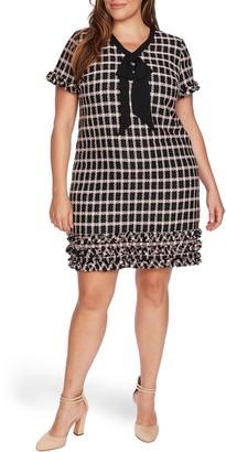 CeCe Grid Tweed Short Sleeve A-Line Dress