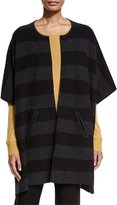 Eileen Fisher Reversible Felted Striped Wool Poncho