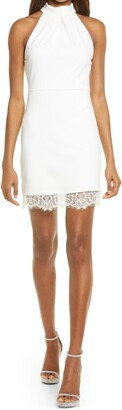 Lulus A Perfect Match Lace Trim Mock Neck Cocktail Dress