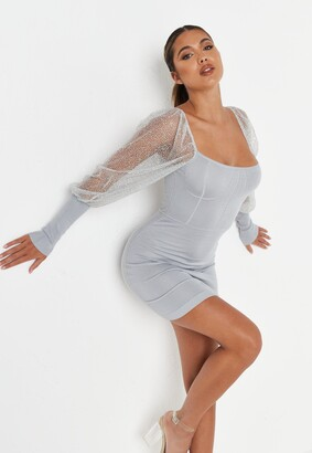 Missguided Grey Glitter Puff Sleeve Mini Dress