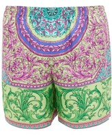 Versace Baroque-print Silk-twill Shorts - Mens - Green Multi