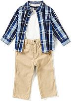Nautica Baby Boys 12-24 Months Plaid Long-Sleeve Woven Shirt, Solid Tee & Pant Set