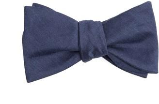 Tie Bar Linen Row Navy Bow Tie