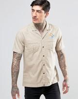 Pretty Green Safari Shirt In Short Sleeve In Slim Fit