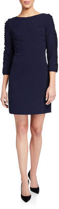 Karl Lagerfeld Paris 3/4-Sleeve Crepe Sheath Dress w/ Lace Inset Sleeve Detail