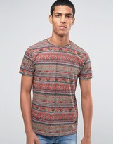 Esprit Crew Neck T-Shirt with All Over Geo-Tribal Print
