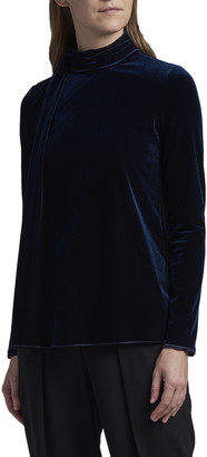 Giorgio Armani Ruched Velvet Mock-Neck A-Line Top