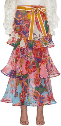 Zimmermann 'The Lovestruck' Belted Paisley Floral Graphic Maxi Flounce Skirt