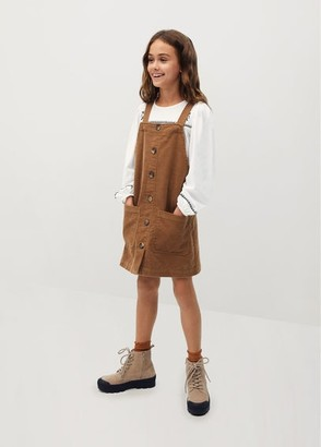 MANGO Buttons corduroy pinafore dress