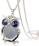 Perman Women Owl Diamond Long Pendant Necklace