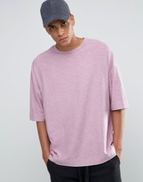 Asos Super Oversized T-Shirt With Crew Neck And Textured Fabric In Pink