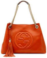 Gucci Soho Leather Medium Chain-Strap Tote, Orange