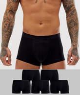 Asos Design ASOS DESIGN short trunks in black in organic cotton 5 pack multipack saving