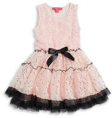 Betsey Johnson Girls 2-6x Rosette Ruffled Dress